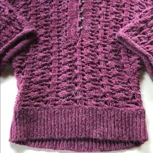 Free People | Purple Knit Hooded Sweater | Small